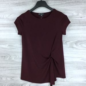 INC Burgundy Twist Front Short Sleeve Top